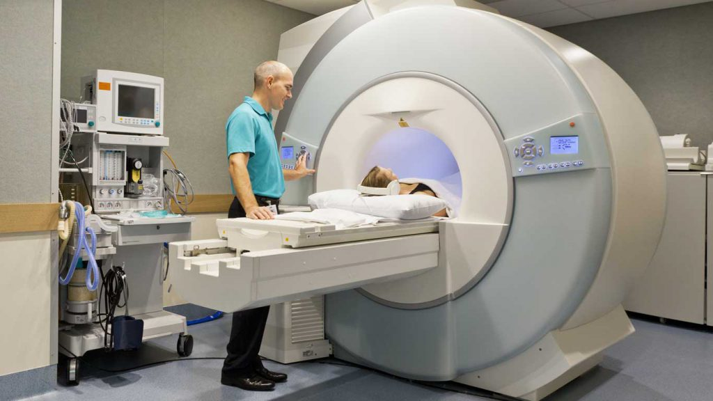 Mindfulness research: image of a person undergoing an MRI exam